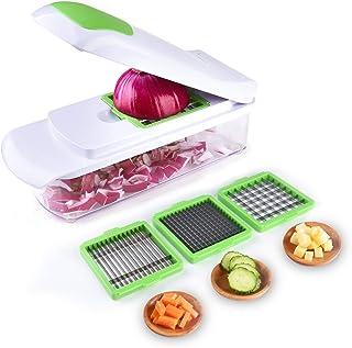Vegetable Chopper Slicer Dicer - Onion Chopper - Effortless No-Mess Salad Vegetable Cutter, 3 Interchangeable Blades Set w...