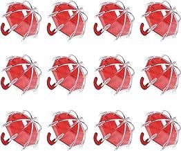 djim45aoy 12Pcs Candy Tin Eye-catching Eco-friendly Umbrella Shape Plastic Candy Box Red