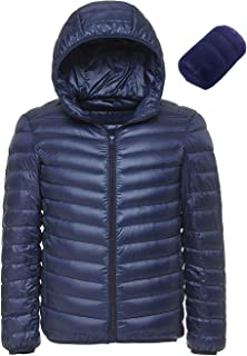 Men's Hooded Packable Down Jacket Puffer Coat Lightweight Winter Padded Outwear Hiking Quilted Down Parka