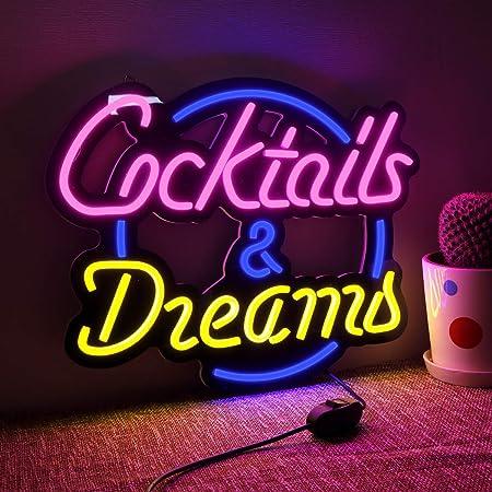 Cocktails /& Dream Beer Bar Wine LED Neon Light Sign home decor crafts
