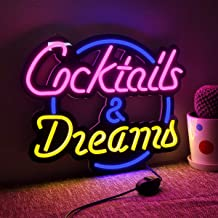 Cocktails and Dreams Neon Light Sign Home Beer Bar Pub Recreation Room Game Lights Windows Glass Wall Signs Party Birthday...