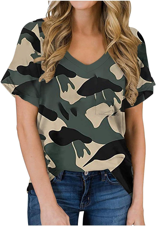 ABABC Women's Summer Short Sleeve V-Neck Printing Shirts Loose Fashion Casual Tee T-Shirt with Pocket