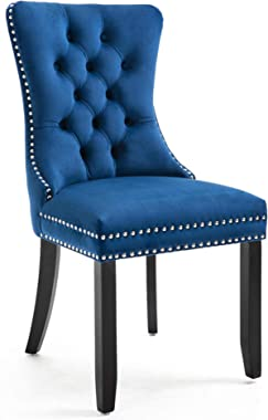 Rhomtree Set of 2 Velvet Fabric Dining Chairs Luxury Tufted Back with Nailed Trim and Back Ring Pull Home Kitchen Dining Room