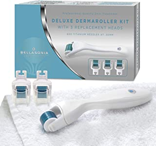 Derma Roller - 5 Piece Microdermabrasion/Microneedling Facial Tool Kit includes: Dermaroller Handle and 3 Titanium Replacement Heads each with 600 Microneedles at .30mm Plus Handy Storage Case