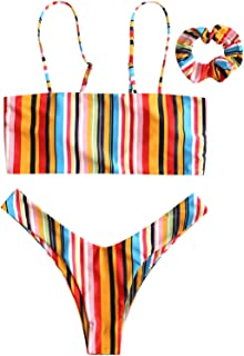 Womens Cami Strap Rainbow Bandeau High Leg Bikini Set Two Piece Swimsuit with Headband