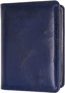 Kandouren RFID Blocking Passport Holder Cover Case,travel luggage passport wallet made with Blue Map Crazy Horse PU Leather for Men & Women