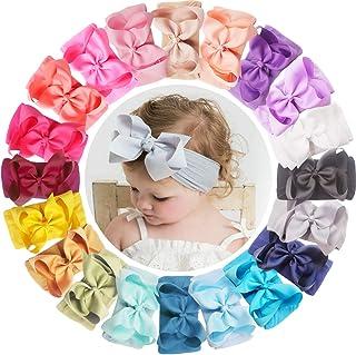 WillingTee 20Pcs Baby Girls Nylon Headbands Big 6 Inch Hair Bow Elastics Hairbands Hair Accessories for Baby Girls Newborn...