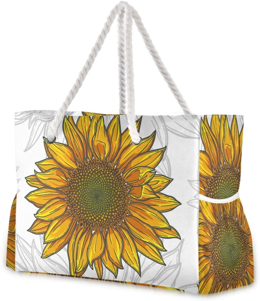 Large Beach Bags Totes Canvas Selling Topics on TV Tote Shoulder Sunflowers Water Bag