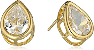 أقراط من الفضة الاسترليني المطلية بالذهب الأصفر 18 قيرات وزركونيا مكعب