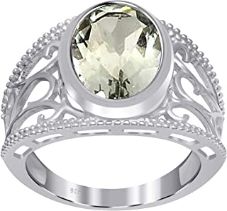 Orchid Jewelry 4.10 CTW Natural Oval-Shape Green Amethyst Gemstone Sterling Silver Ring For Women - February Birthstone - ...