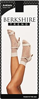 Berkshire womens 5212 Plus Dot Anklet Sock With Scalloped Top Hosiery - Black - Plus (Shoe Size 9-12)