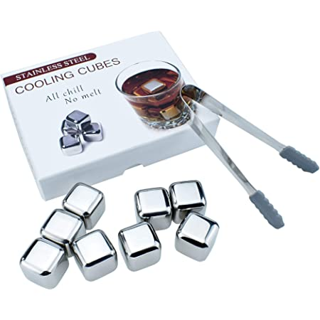 RUNZI Stainless Steel Chilling Cubes Reusable Ice Cube for Drinks with Ice Tongs,Whisky Stones Gift Pack of 8