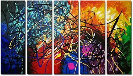Wieco Art Colorful Abstract Heart Oil Paintings on Canvas Wall Art Ready to Hang for Living Room Bedroom Home Office Decorations Modern 5 Panel 100% Hand Painted Stretched and Framed Artwork