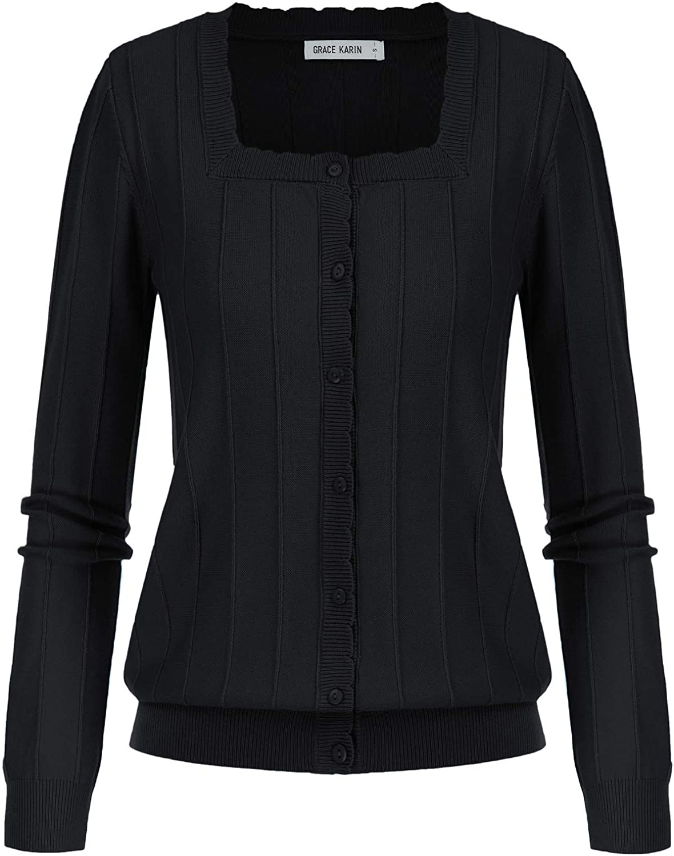 GRACE KARIN Women's Soft Knit Striped Cardigan Long Sleeve Square Neck Sweater