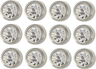 Caflon Ear Piercing Bezel Earrings Studs 3mm April C/Z White Metal 12 Pair