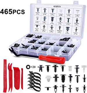 DUTISON 465PCS Plastic Fasteners Kits - 19 Sizes Nylon Bumper Retainer Clips for Car - Auto Push Pin Rivets Set with Fastener Remover Compatible for GM Ford Chevy Toyota