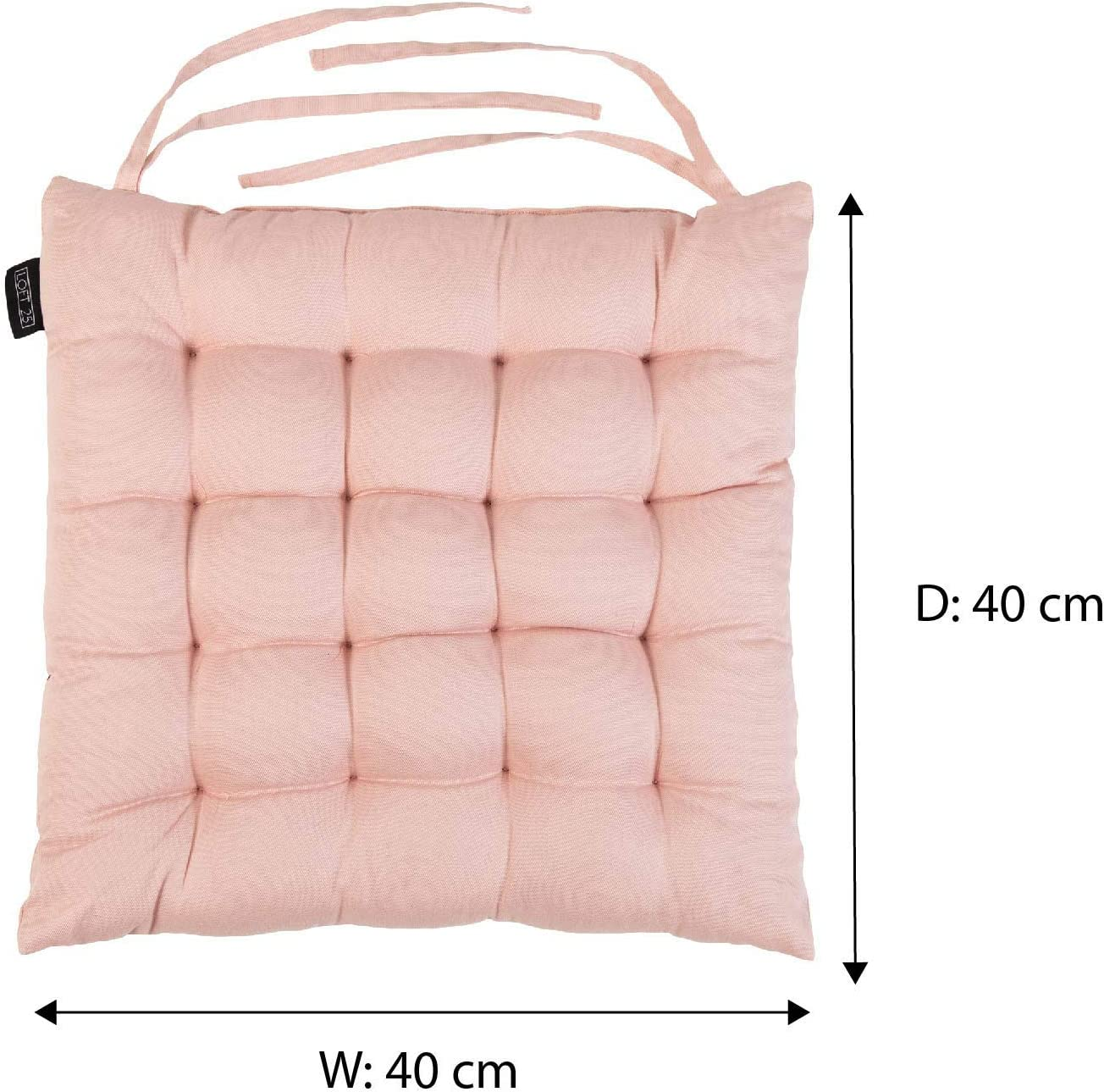 Dining Padded Seating Non Slip Secure Ties Soft Comfy Tufted Premium Design Pink, Set of 1 Loft 25 Chair Cushion Seat Pad