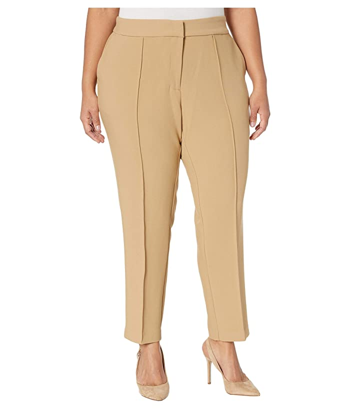 Vince Camuto Specialty Size  Plus Size Bi-Stretch Crepe Pin Tuck Skinny Pants (Latte) Womens Casual Pants