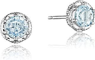 SE24002 Sterling Silver Island Rains Petite Crescent Crown Sky Blue Topaz Stud Earrings