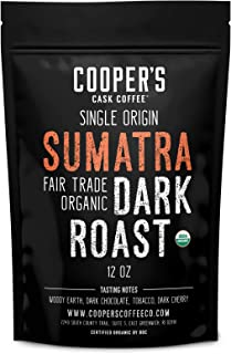 Organic Dark Roast Sumatra Fair Trade, Whole Bean Coffee, Single Origin Grade 1 Premium Coffee - 12 oz Bag