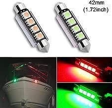 Shangyuan 42mm(1.72inch) Marine Festoon led Bulbs for Yacht Boat Light Bulbs, Nav Navigation Light Bulbs, Port Light Bulbs and startboatd Light Bulbs, Bow Light Bulbs, Red Green DC12V