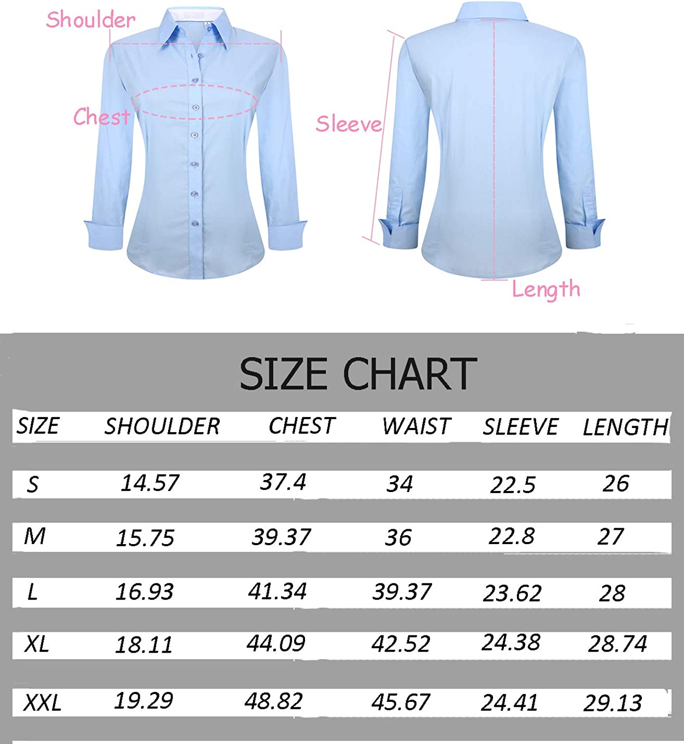 Womens Button Down Shirts Long Sleeve Regular Fit Bamboo Stretch Work Blouse
