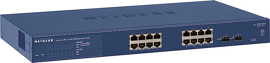 $149 Get NETGEAR 16-Port Gigabit Ethernet Smart Managed Pro Switch (GS716Tv3) - with 2 x 1G SFP, Desktop/Rackmount, and ProSAFE Limited Lifetime Protection
