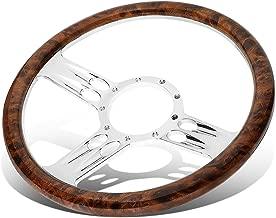 Billet Aluminum 13.5 inches Wood Grain Lightweight 2.25 inches Deep Banjo Style Steering Wheel