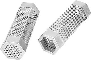 Med diffusionshål rostfritt stål BBQ-rökare Rökning Mesh Tube 2st rökgenerator Värmebeständig hållbar för elektrisk gaskol...