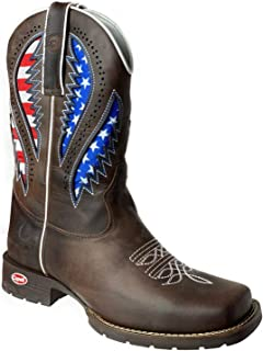 KING USA Texas Western Embroidered Leather Rodeo Rancher Work Boots Square Toe