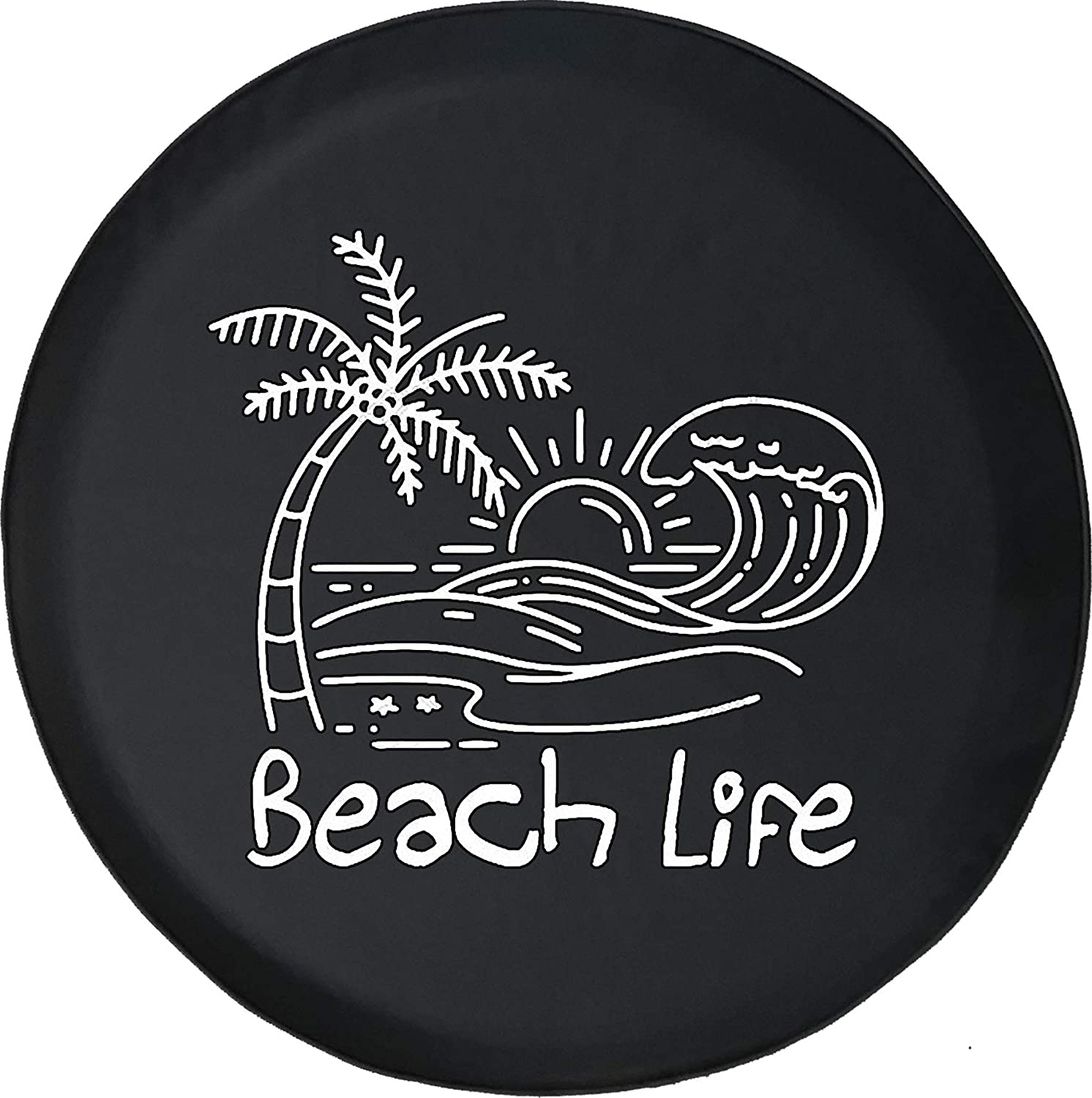 American Unlimited Palm Tree Beach 100% quality warranty! Spare 3 Cover Great interest Tire Black Size