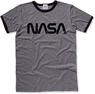 Hank Player U.S.A. NASA Retro Worm Logo Men's Ringer T-Shirt
