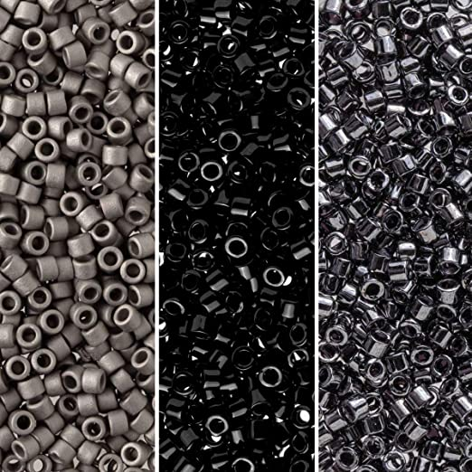 Miyuki Delica Seed Beads Bundle: Size 11/0, Midnight Palette Collection DB1, DB10, DB321-3 Tubes of 7.2 Grams