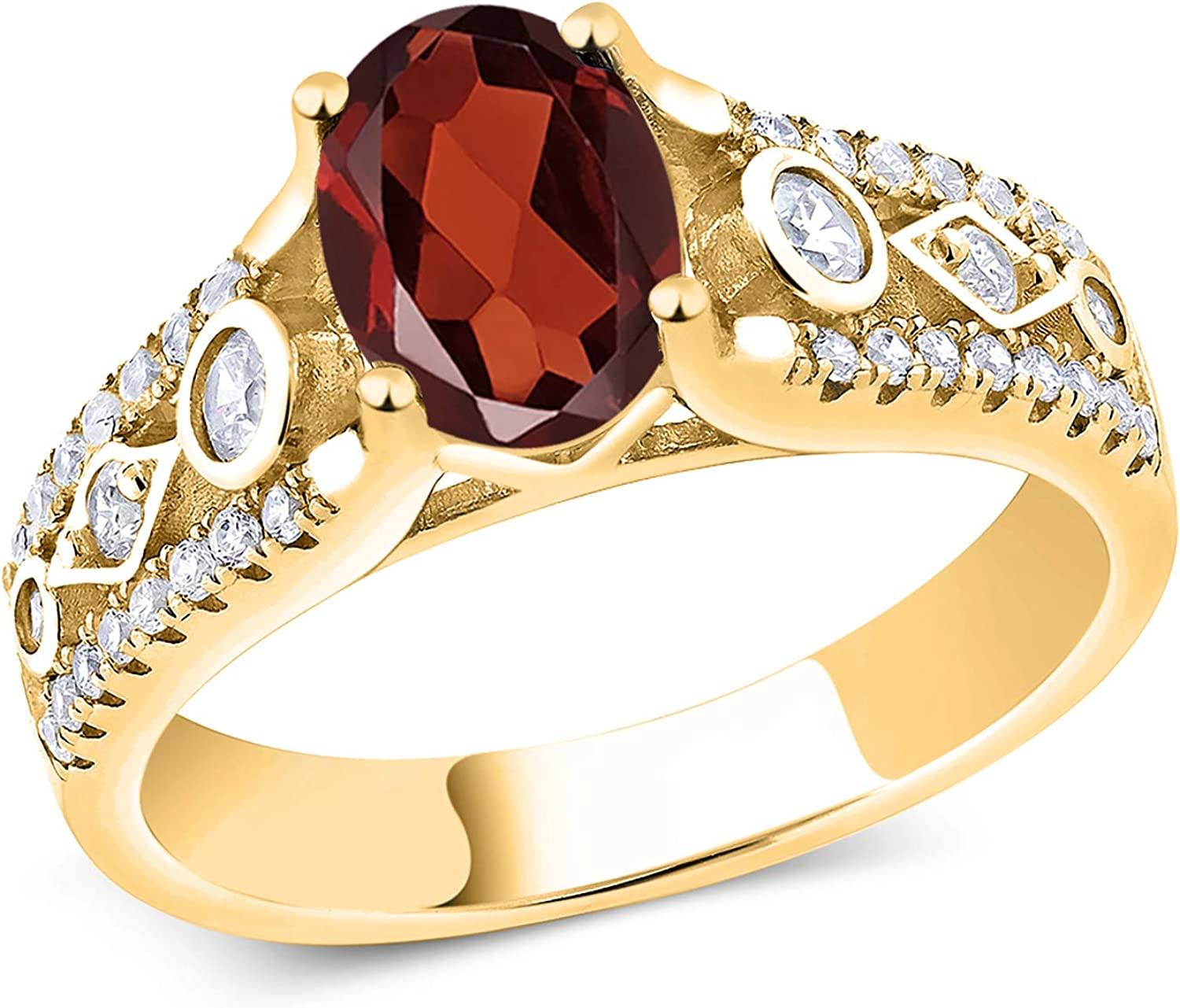 Gem Stone King All items in the store 1.76 Ct Oval Red Gold Plated 18K Si Yellow Choice Garnet
