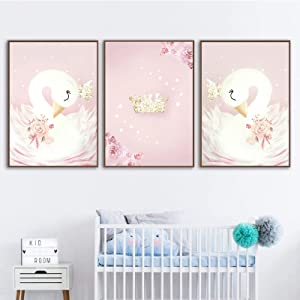 Canvas Wall Art Painting Baby Girl Nursery Wall Art Canvas Painting Pink Swan Cartoon Posters Nordic Kids Decoration Pictures Children Bedroom Decor Frameless (16X24inchX3 Unframed)