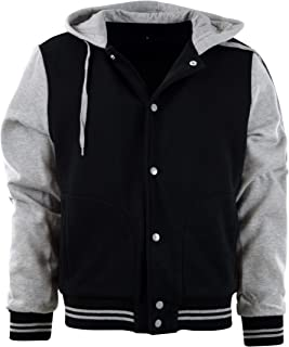 ChoiceApparel Mens Baseball Varsity Jacket with Detachable Hoodie