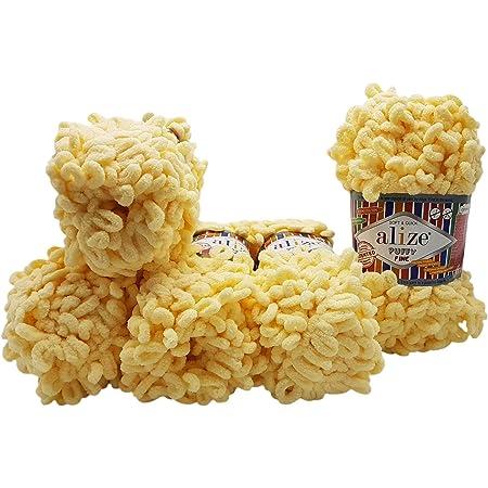 597 Cinnamon Alize 5 x 100 g Puffy PREMIUM Wool Loop wool hand knitting finger knits