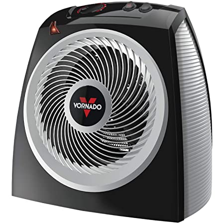 Vornado VH10 Vortex Heater with Adjustable Thermostat, 2 Heat Settings, Advanced Safety Features, Black