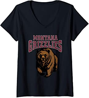 Womens University of Montana Grizzlies Griz NCAA RYLMT06 V-Neck T-Shirt