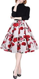 emondora Women's Retro Printed Flared Skirt A-line Swing Casual Pleated Midi Skirts