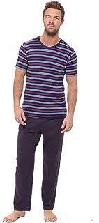 Mens Pyjamas Set Short Sleeve Top & Long Bottoms Pants Summer (1 or 3 Pack)