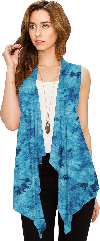 Lock and Love Women's Drape Front Open Cardigan Sleeveless Irregular Hem S-5XL Plus Size Made in USA