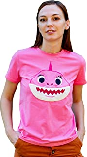 ComfyCamper Embroidered Womens Mommy Shark Shirt Family Shark Costume, Pink, M