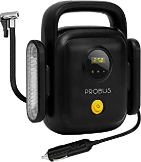 Probus Heavy Duty 150 Psi 4 Cylinders Compact Digital Tyre Inflator Smart Auto Off Air Compressor for Car – Black