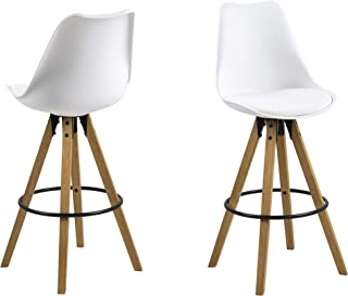 Amazon Brand - Movian Arendsee - Juego de 2 taburetes de bar 55 x 485 x 1115 cm (largo x ancho x alto) blanco