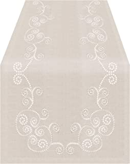 """SARO LIFESTYLE Embroidered Swirl Design Linen Blend Table Runner, 16"""" x 72"""", Natural"""