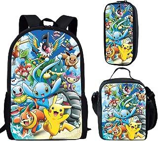 Mochila escolar con estampado de anime Pikachu para niños y niñas, bolsa de hombro, lonchera, bolsa de lápices, juego de 3 piezas, Pikachu A6 (Multicolor) - sp-cgk