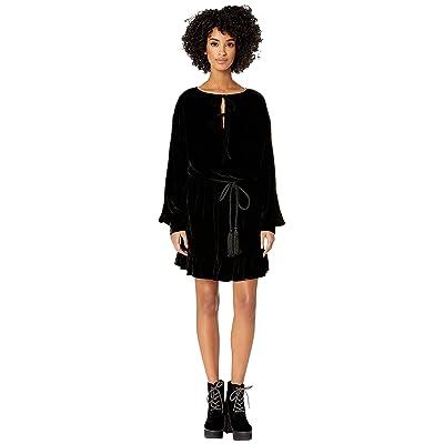 The Kooples Short Dress with Frills In Flowing Velvet (Black) Women