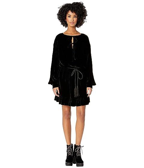 The Kooples Short Dress with Frills In Flowing Velvet