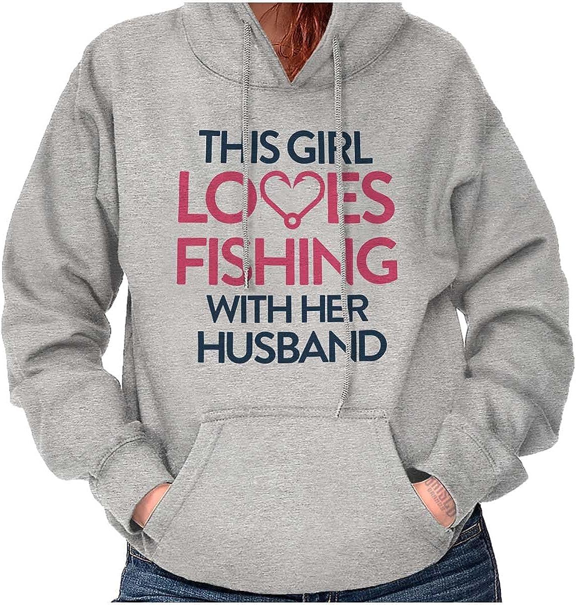 Wife Husband Loves Fishing Cute Girly Hoodie Sweatshirt Women